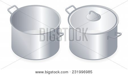 Flat Isometric Illustration Of Kitchen Pan, Pot With Lid. Household Cookware Isolated On White Backg