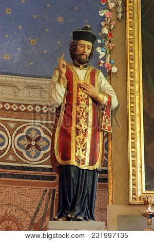 RIBNICKI KUNIC, CROATIA - JULY 02: Saint John of Nepomuk, statue on the main altar in Saint Catherine of Alexandria church in Ribnicki Kunic, Croatia on July 02, 2016.