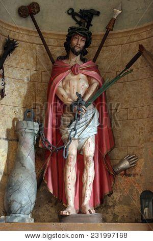 MARIJA NA MURI, CROATIA - AUGUST 08: Christ Bound, statue on the altar in the parish church of Assumption in Marija na Muri, Croatia on August 08, 2017.