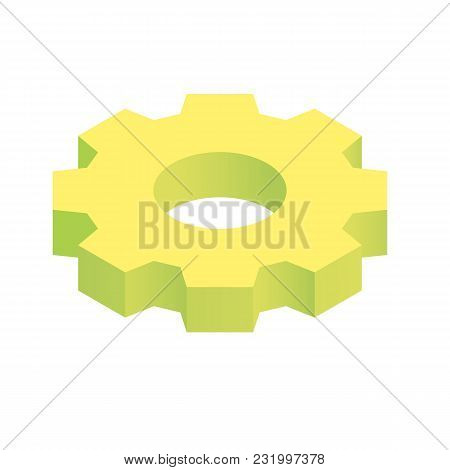 Isometric Settings Gear Simple Icon Concept Vector Illustration