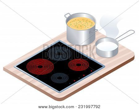 Flat Isometric Illustration Of Kitchen Electric Stove With Pan, Pot. Cooking Workplace Isolated On W