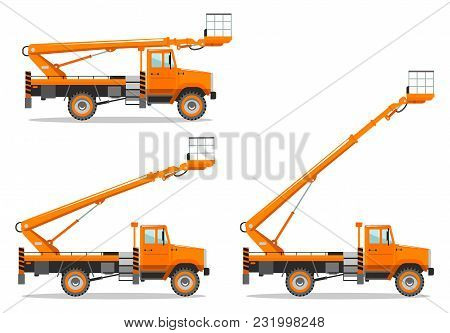 Detailed Illustration Of Aerial Platform Truck With Different Boom Position. Heavy Construction Mach