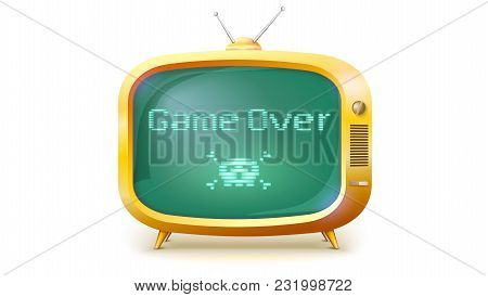Game Over, Pixel Text, Skull And Bones On Screen. Yellow Tv Set With Message. Retro Style Of Tv Or C
