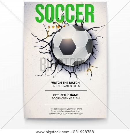 Poster With Soccer Ball On The Background Of A Broken-down Wall With Cracked Plaster. Football Ball