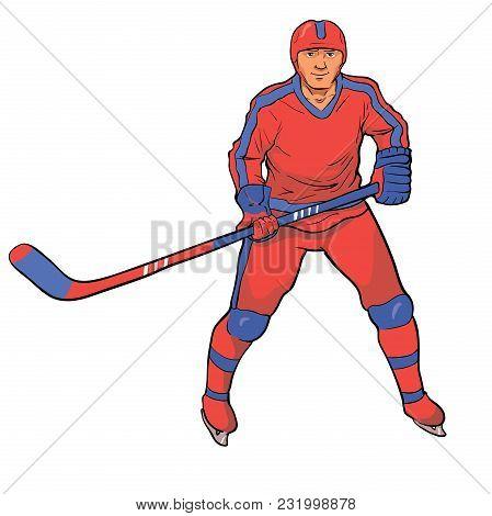 Hockey Player In Red Blue Uniform. Vector Illustration