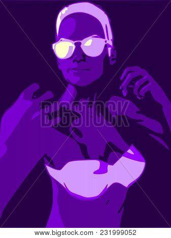 A Young Woman In Fighting Pose. Pretty Woman Wearing Bikini And Sunglasses.