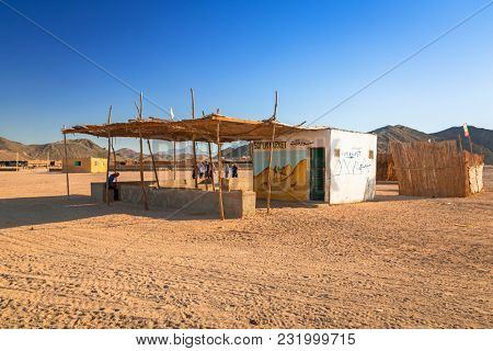 Hurghada, Egypt - April 16, 2013: Supermarket of small village on the desert near Hurghada, Egypt. Desert safari is one of the main local tourist attraction in Egypt.