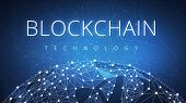 Blockchain technology on futuristic hud background with glowing polygon world globe and blockchain peer to peer network. Global cryptocurrency blockchain business banner concept. poster