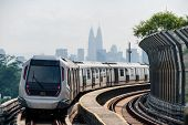 Mass Rapid Transit (MRT) train with background of cityscape in Kuala Lumpur. MRT system forming the major component of the railway system in Kuala Lumpur, Malaysia. poster
