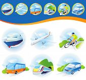 Travel transportation icon set. Vector. Vehicles icons poster