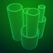 Wireframe low poly mesh construction metallurgy round tubes profile vector illustration poster