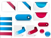 Blue and purple vector elements for web pages - buttons, navigation, pointers, arrows, badges, ribbons poster