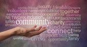 Get involved with your Community Word Tag Cloud - Female open palm hand against rustic stone effect burgundy purple  background with the word COMMUNITY floating above surrounded by a word tag cloud poster