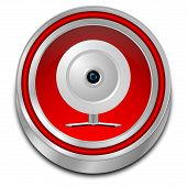 decorative red Button with Webcam - 3D illustration poster