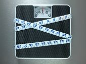 Bathroom scales isolated against a metallic background poster