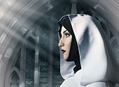 Profile view portrait of a beautiful nun in white hooded cloak standing in the church. poster