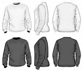 Vector. Men's t-shirt design template (front, back and side view). Long sleeve. No mesh. poster