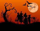 Halloween background with silhouettes of children trick or treating in Halloween costume poster