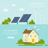 Green modern house with solar panels and wind turbine. Eco friendly alternative energy. Ecosystem infographics. Flat vector illustration. poster