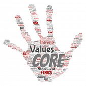 Conceptual core values integrity ethics hand print stamp concept word cloud isolated background. Collage of honesty quality trust, statement, character, perseverance, respect and trustworthy poster
