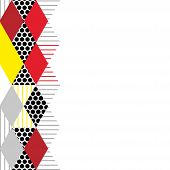 Card banner template Geometric elements Memphis Postmodern Retro fashion style 80-90s. asymmetrical shapes Rhombus triangle pattern. Yellow Red gray black background. Vector illustration poster