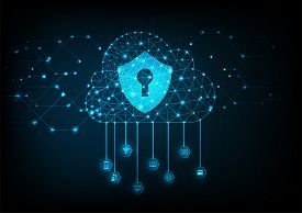 Internet Cloud Data Security Concept With Keyhole Icon On Digital Data Background. Illustrates Cyber