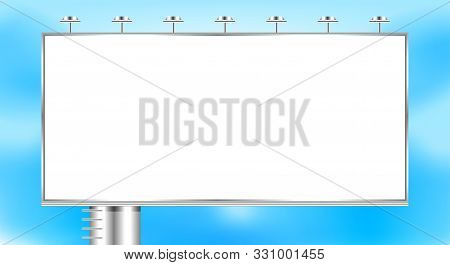 Empty Billboard Big On Sky Copy Space, Billboard Large White Outdoor For Advertisement Media Ad, Bil