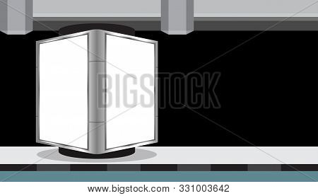 Billboard Light Box Blank White For Media Ad, Empty Light Box For Advertising And Copy Space, Signs