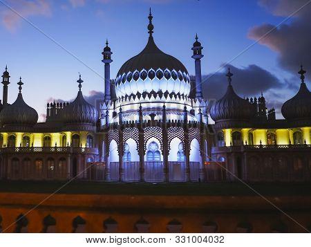 Brighton, England- October, 4 2017: Front Of The Historic Brighton Pavilion At Night