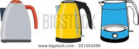 Kettle Icon On White Background Teatime, Thermal, Utensil