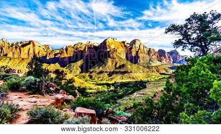 Sunrise Over Mt. Kinesava And The West Temple In Zion National Park In Utah, Usa, During An Early Mo
