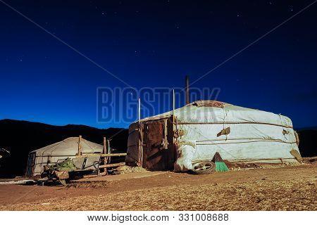Mongolian Ger Night Landscape