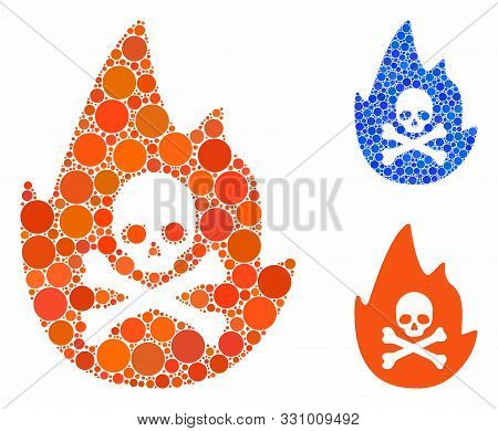 Hellfire Mosaic Of Circle Elements In Various Sizes And Color Tinges, Based On Hellfire Icon. Vector