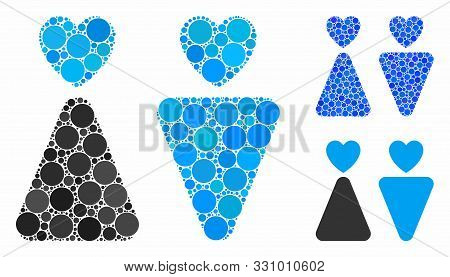 Lovers Composition Of Filled Circles In Various Sizes And Color Tinges, Based On Lovers Icon. Vector