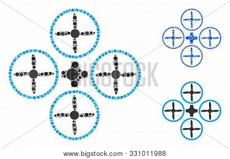 Quadcopter Mosaic Of Circle Elements In Different Sizes And Shades, Based On Quadcopter Icon. Vector