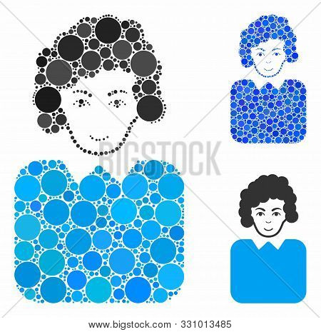 Bureaucrat Lady Composition Of Spheric Dots In Different Sizes And Color Tinges, Based On Bureaucrat