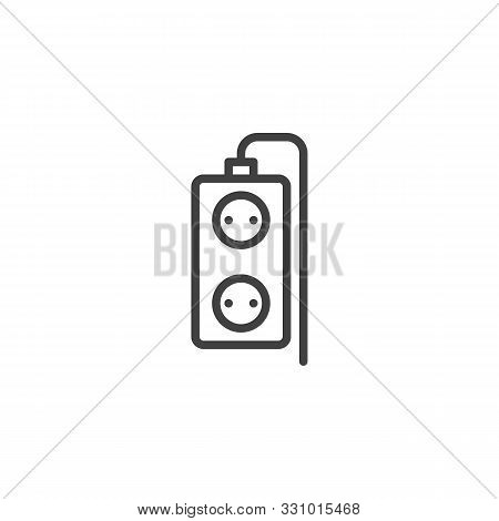 Double Plug Extension Cord Line Icon. Linear Style Sign For Mobile Concept And Web Design. Electric