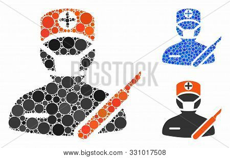 Surgeon Composition Of Round Dots In Various Sizes And Color Hues, Based On Surgeon Icon. Vector Rou