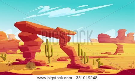 Desert Arch On Natural Background Of Hot Desert Landscape With Yellow Sand And Dry Tumbleweed, Red M