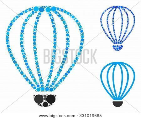 Aerostat Composition Of Small Circles In Various Sizes And Color Hues, Based On Aerostat Icon. Vecto