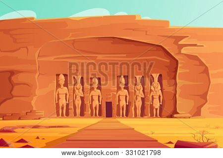 Ancient Egypt, Abu Simbel Small Temple, Cartoon Vector Illustration. Rock Carved Temple Facade With