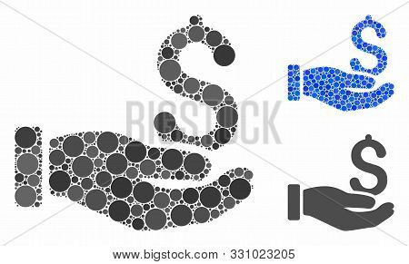 Earnings Hand Composition Of Spheric Dots In Different Sizes And Color Tones, Based On Earnings Hand