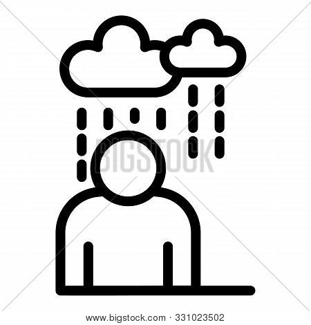 Rainy Depression Man Icon. Outline Rainy Depression Man Vector Icon For Web Design Isolated On White
