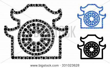 Pagoda Composition Of Small Circles In Variable Sizes And Color Tones, Based On Pagoda Icon. Vector