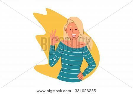 Agreement, Nonverbal Communication Concept. Happy Young Woman Showing Ok Gesture, Trendy Approval Si