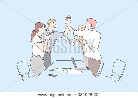 Colleagues Celebrate Success Concept. Cheerful Office Workers Clapping Hands, Applauding On Professi