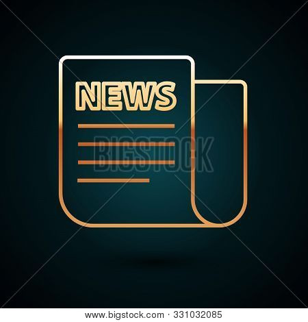 Gold Line News Icon Isolated On Dark Blue Background. Newspaper Sign. Mass Media Symbol. Vector Illu