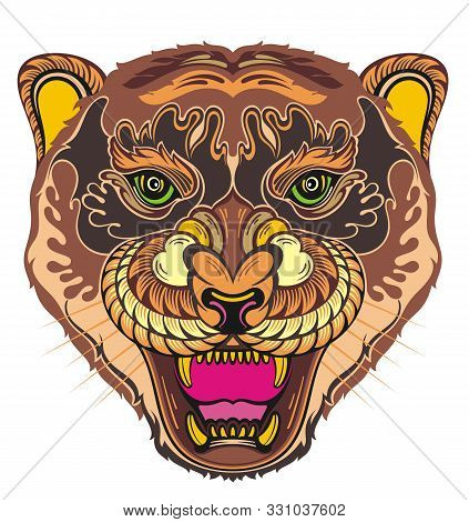 Angry Puma. Animal Face. Vector Illustration Of Angry Tiger