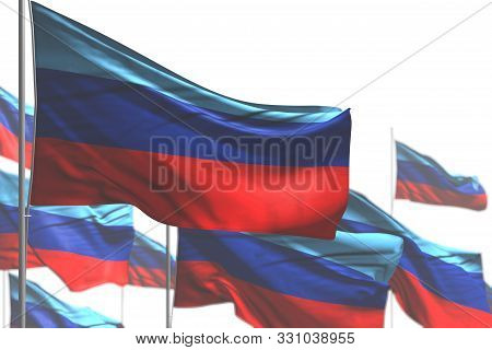 Cute Celebration Flag 3d Illustration  - Many Luhansk Peoples Republic Flags Are Wave Isolated On Wh