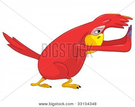 Cartoon Character Funny Parrot Isolated on White Background. Pushing. Vector EPS 10. poster
